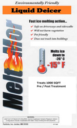 Meltmor liquid deicer is available for pre and post treating surfaces for snow and ice melting.