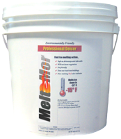 Meltmor deicers are available in varied containers for residential or commercial applications.