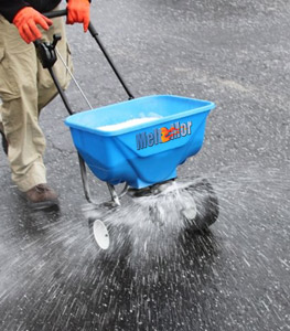 Meltmor de-icers can be applied by hand spreaders, push spreaders or motorized spreaders for any size application.